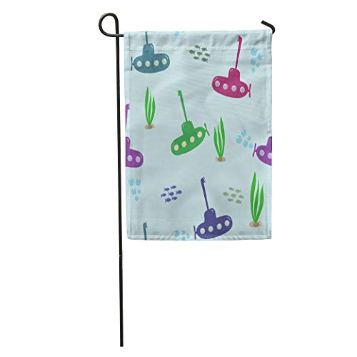 Semtomn Garden Flag Yellow Colorful Submarines Periscope Seaweed Bubbles Fish on Blue Home Yard House Decor Barnner Outdoor Stand 12x18 Inches Flag