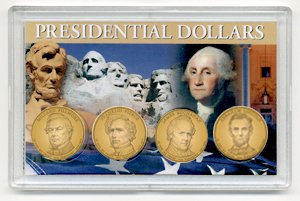 2010 D 4 Coin Uncirculated Presidential Dollars in Full Color Holders Uncirculated