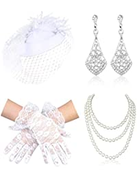 1920s 50s Accessories Fascinators Pillbox Veil Hat Short Lace Gloves Pearl Neckalce Earrings for Wedding Derby Party Afternoon Tea Costume Jewelry Set