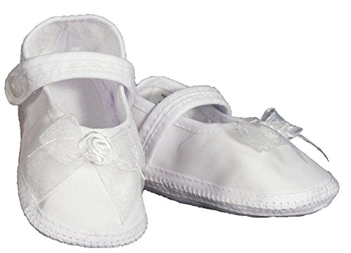 Little Things Mean A Lot Girls Polycotton Batiste Christening Shoe with Organza and Ribbon Rosette 6 Months-9 Months White
