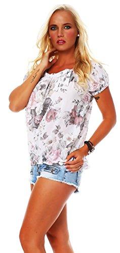 Carmen blouse viscose Blanc shell chemise ROSE manches floral BIG Damen motif courtes Bluse ZARMEXX FwnH08Yxqn