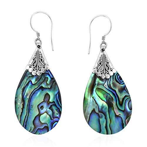 Dangle Drop Earrings 925 Sterling Silver Abalone Shell, used for sale  Delivered anywhere in USA
