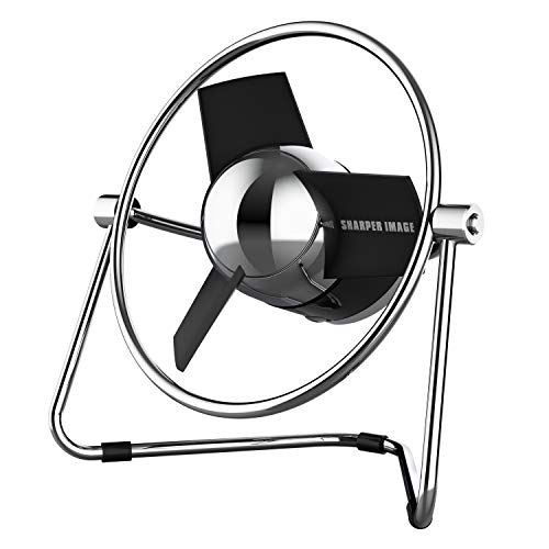 Sharper Image SBM1-SI USB Fan with Soft Blades, 2 Speeds, Touch Control, Quiet Operation, Metal Frame, 5V Wall Adapter, 6 ft. Cable, Black/Chrome