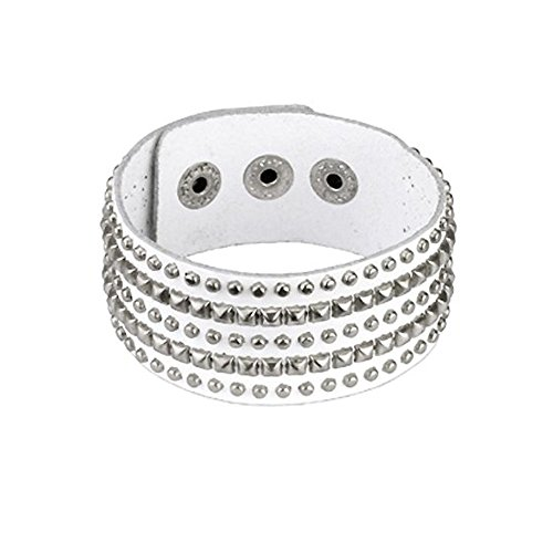 Genuine White Leather Bracelet with 3 Ro - White 3 Row Pyramid Stud Shopping Results