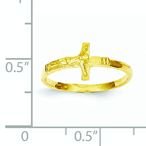 14k Yellow Gold Satin Finish Childs Crucifix Ring - Size 3 by JewelryWeb