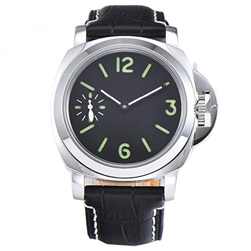 - Classic Parnis 44mm Black Dial Luminous Marks Mineral Glass 3ATM Water Resistance 17 Jewels Seagull 6497 Hand Winding Movement Men's Wrist Watch
