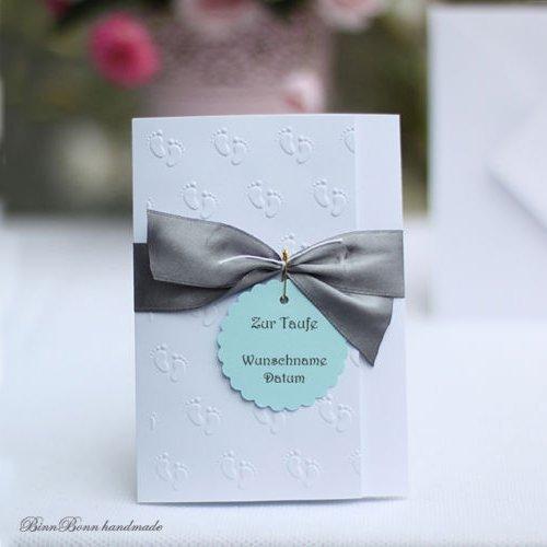 12 Personalisierte Einladungskarten Einladung Taufeinladung Taufe Junge  Baby Name Handarbeit Binnbonn