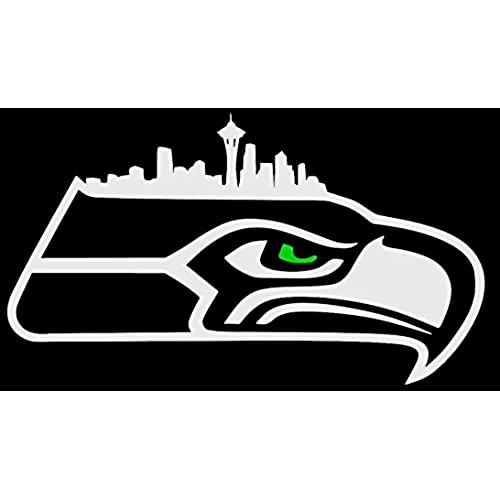 Hawk logo with seattle skyline and green eye nfl seattle seahawks vinyl decal 6