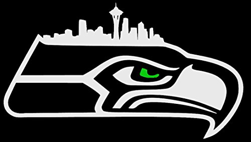Hawk Logo with Seattle Skyline and Green Eye - NFL Seattle Seahawks Vinyl Decal (6