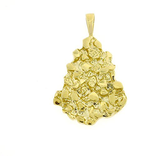 14K Yellow Gold Nugget Pendant Necklace - 42 mm (14k Gold Yellow Pendant Nugget)