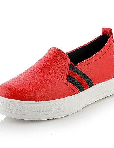 ZQ gyht Zapatos de mujer - Tacón Plano - Punta Redonda - Mocasines - Exterior / Casual / Deporte - Semicuero - Negro / Rojo / Blanco , red-us10.5 / eu42 / uk8.5 / cn43 , red-us10.5 / eu42 / uk8.5 / cn black-us5.5 / eu36 / uk3.5 / cn35