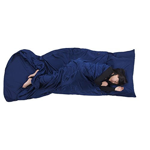 """Browint Sleeping Bag Liner with All Around Two-Way Zipper, Travel Sheet, 87""""x41"""" Extra Wide Travel Sleep Sack for Hotel, Super Soft Silky Fiber Sleep Sheet, Multifunctional Bed Sheet"""