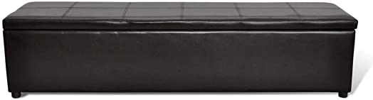 Brown Ottoman Storage Footrest Bench Foot Stool Rectangular Leather Large Seat