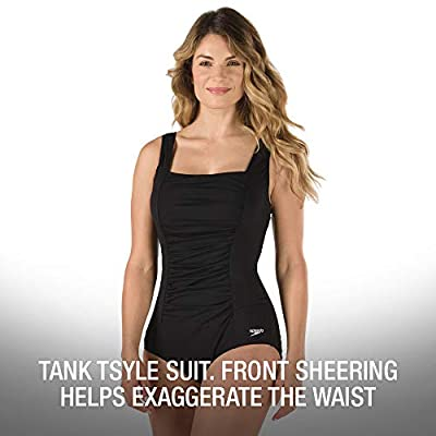 Speedo Women's Swimsuit One Piece Endurance+ Shirred Tank Moderate Cut: Clothing