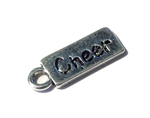 Tag Charm Jewelry - 10 Pack of Small Silver Tone Cheer Tag Charms – Old School Geekery TM Brand Jewelry Making Charms – Cheerleader Team