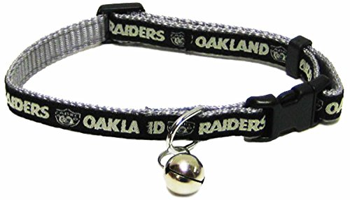 - Pets First NFL CAT Collar. - Oakland Raiders CAT Collar. - Strong & Adjustable Football Cat Collars with Metal Jingle Bell