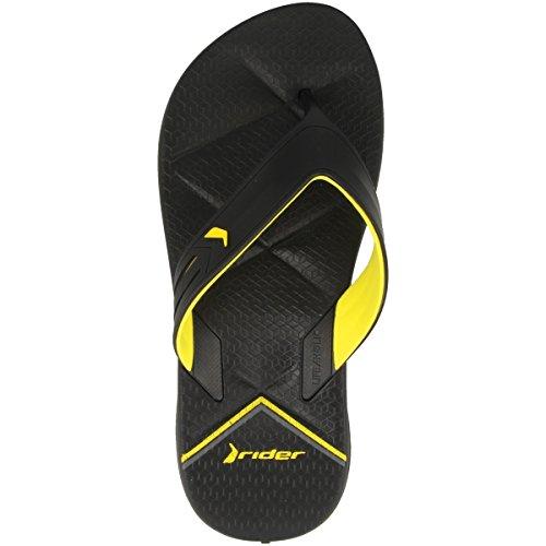 Rider Easy Thong AD Flip Flops Black/Yellow G8EHU