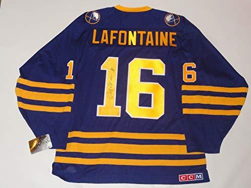 (Pat Lafontaine Autographed Signed #16 Vintage Ccm Buffalo Sabres Jersey Proof Rare Memorabilia JSA COA)