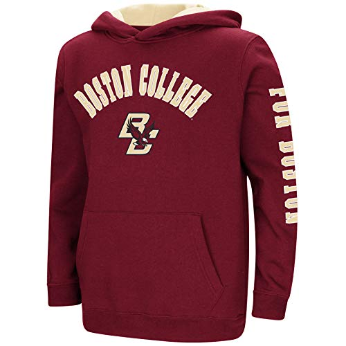 Hoodie Maroon Youth (Colosseum NCAA Youth Boys-Crunch Time-Hoody Pullover-Boston College Eagles-Maroon-Youth Large)