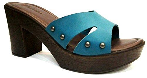 INBLU - Sandalias de vestir de piel sintética para mujer verde aguamarina 35