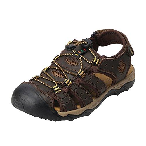 Zapatos Marrón en Hombre Aire para pie Highdas Sandalias de Libre Dedo Chanclas Caminar 18051605H para Deportivos Caminar Viajar Oscuro la al de Playa Caminar Cuero del Verano Cerrado twvFqU7