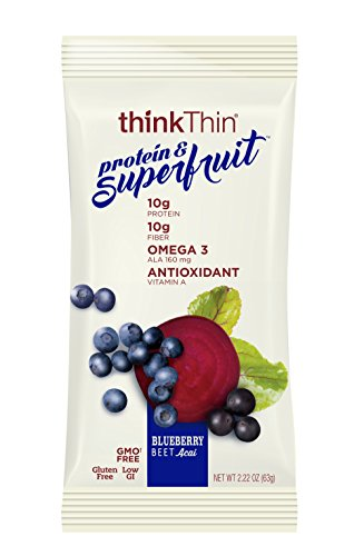 thinkThin Protein Superfruit Bars, Blueberry Beet Acai, 2.12 oz Bar 9 Count Packaging May Vary