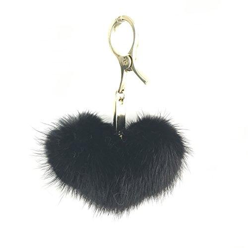 9CM Length Lovely Heart Shape Mink Fur Ball Golden Cell Phone Car Keychain Pendant Handbag PomPom Charm Woman Keyring