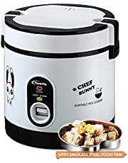 POWERPAC PPRC09 Portable Rice Cooker with Stainless Steel Food Tray, 0.6L