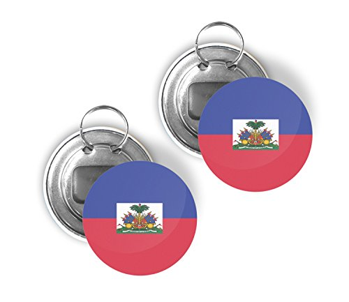- Country of Haiti Two Pack of Flag Beer Bottle Opener Keychain Buttons 2.25-inch Round Haitian