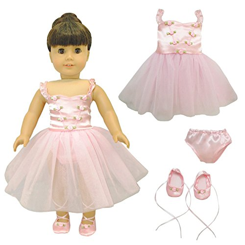 Pink Butterfly Closet Ballet Ballerina Dance Dress for 18-inch Dolls - 18 Doll Dance Costumes