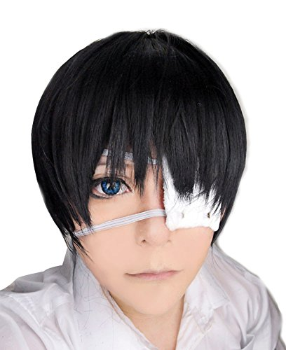 Free Hair Cap + Tokyo Ghoul Ken Kaneki Cosplay Wig Black Short Costume Wig]()