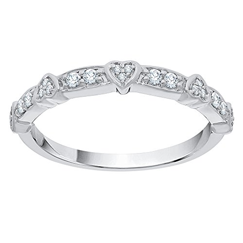 Diamond Heart Anniversary Ring in Sterling Silver (1/6 cttw) (GH Color, I2-I3 Clarity) (Size-11.25) by KATARINA
