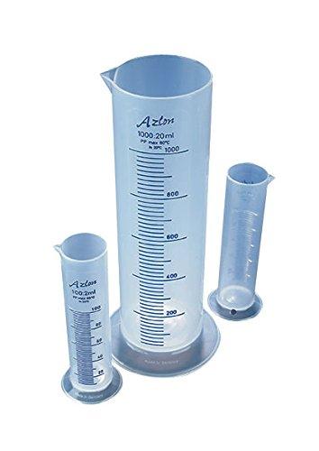 AZLON CPS0100P Plastic, Squat form Cylinders, Polypropylene, 100 ml (Pack of 5) Moulded Cylinder