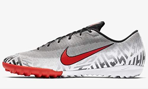 Nike Men's Mercurial Vapor XII Academy Neymar TF-White/Black/Challenge Red (8.5) (Mercurial Soccer Shoes)