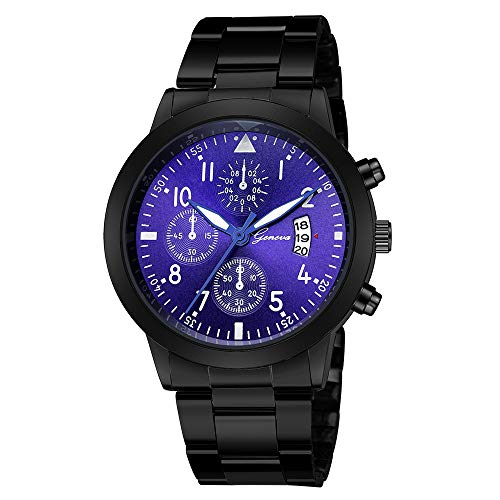 - Fashion Luxury Quartz Sport Military Stainless Steel Dial Leather Band Wrist Watch,Outsta Round Case Wristwatch Hot!!! (A)