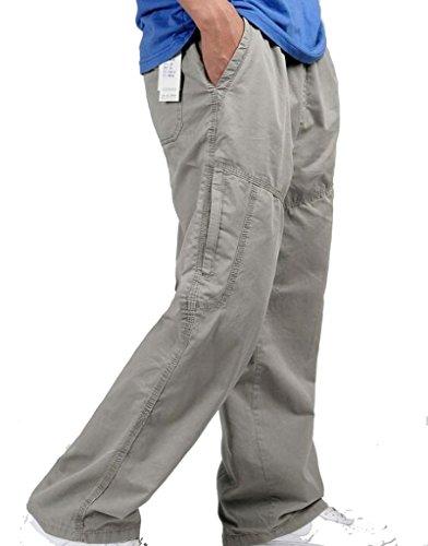 YangguTown YGT Mens Full Elastic Waist Cotton Lightweight Workwear Chef Cargo Pants