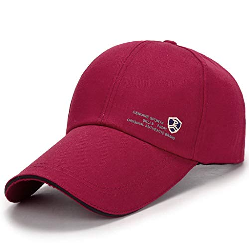 (MTX-Hats Baseball Cap Spring and Autumn Men's and Women's Long Visor Sandwich Canvas Outdoor Hat 56-60cm (Color : Deep red))