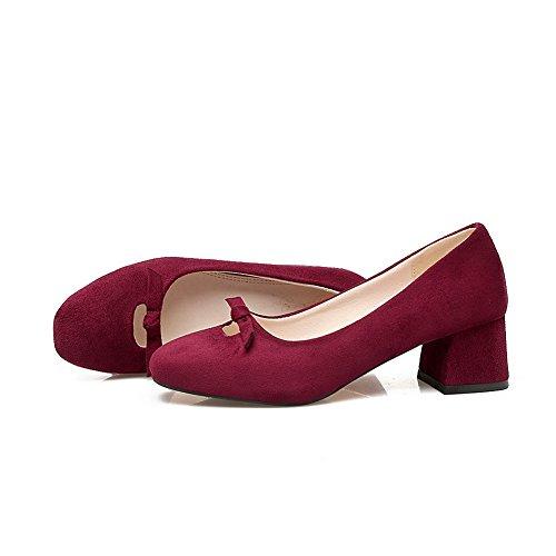 Balamasa Femmes Talons Carrés Orteils Chunky Talons Hauts Chaussures En Daim Chaussures Bordeaux