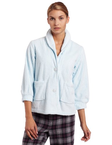 Sleeve Bed Jacket (Casual Moments Womens Bed Jacket With Shawl Collar, Light Blue, X-Large)