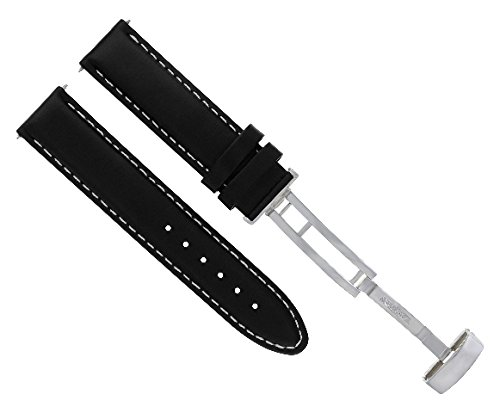 18-19-20-22-24MM Leather Band Strap Smooth Deployment Clasp for MOVADO Black #8 -  Ewatchparts, 796510