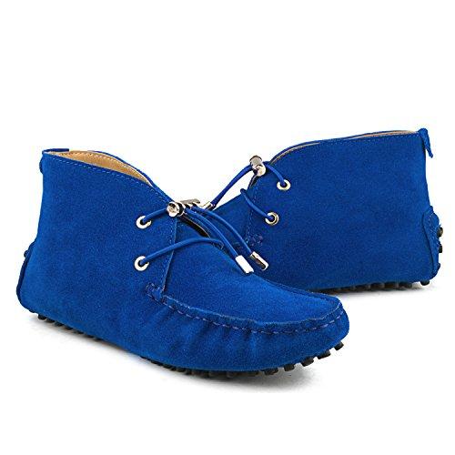 Shenduo Zapatos Casuales - Mocasines de cuero con cordones de moda de cordones para mujer D7258 Azul 2