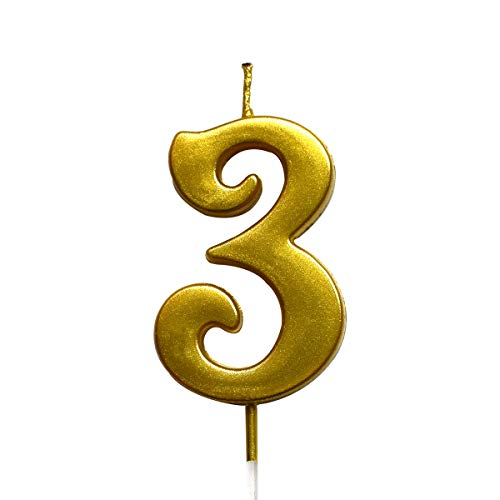 MAGJUCHE Gold 3rd Birthday Numeral Candle, Number 3 Cake Topper Candles Party Decoration for Girl Or Boy