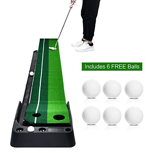 (Champkey Indoor Golf Putting Green Come with 6 Golf Balls- Portable Mat with Auto Ball Return Function - Mini Golf Practice Training Aid, Game and Gift for Home, Office, Outdoor Use...)