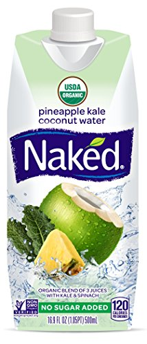 Naked Juice Coconut Water, Pineapple Kale, USDA Organic, NON GMO Project Verified, 16.9 Ounce, 12 Pack