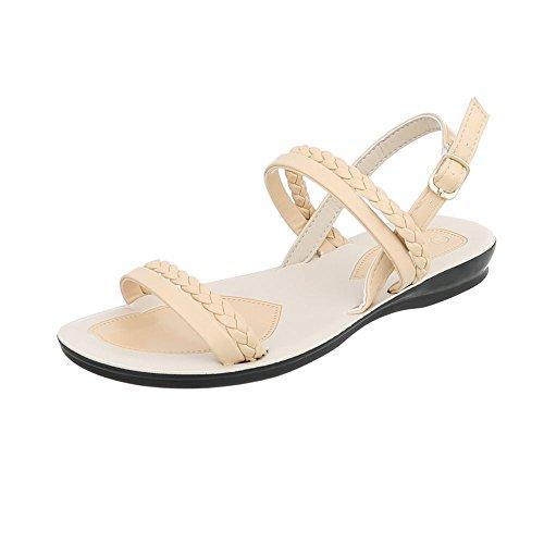 Sandalias Vestir Zapatos Ital Hebilla con de Plano Para Sandalias Design Mujer Beige 6IH5wx5Yq