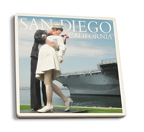 Lantern Press Sailor Sculpture at USS Midway - San Diego, California (Set of 4 Ceramic Coasters - Cork-Backed, Absorbent)