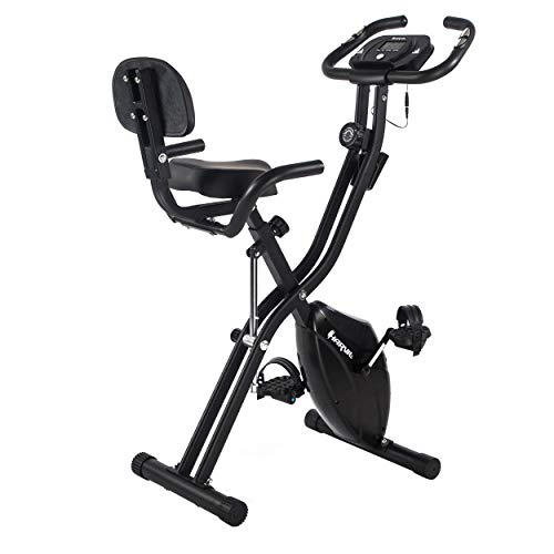 Harvil Foldable Magnetic Exercise Bike with 10-Level Adjustable Magnetic Resistance and Pulse Rate Sensors - Black