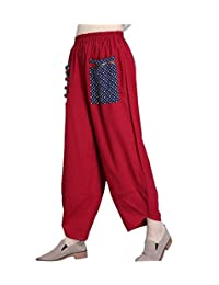 Women's Patchwork Wide Leg Linen Pants Trousers with Big Pockets