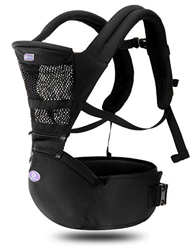 360 Ergonomic Baby Carrier with Hip Seat – AIEBAO Breathable Baby Backpack Carrier Front Facing and Back(3-36 Months,Black)