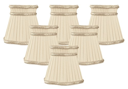- Royal Designs Decorative Trim Top Gallery Empire Beige Chandelier Lamp Shade, Set of 6, 3.5 x 5 x 4.5 (CS-406BG-6)